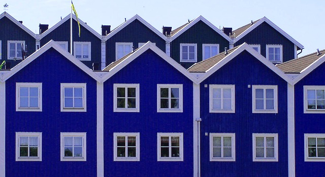 blue painted double storeys terrace house