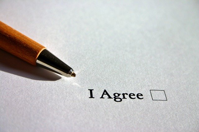 use pen to tick the i agree