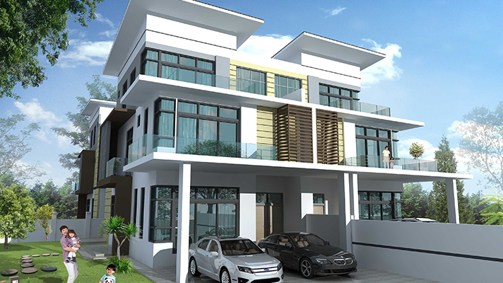 "3 storey cluster House 32"" x 65"""