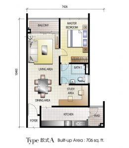 senai garden 706 sq.ft type a