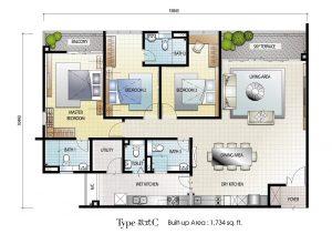 senai garden 968 sq.ft type b