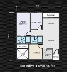 sky garden residence 898 sqft floorplan