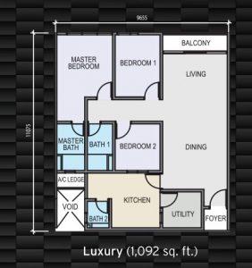 sky garden residence 1092 sqft floorplan
