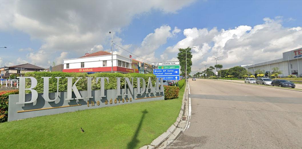 main entrance with bukit indah sign board